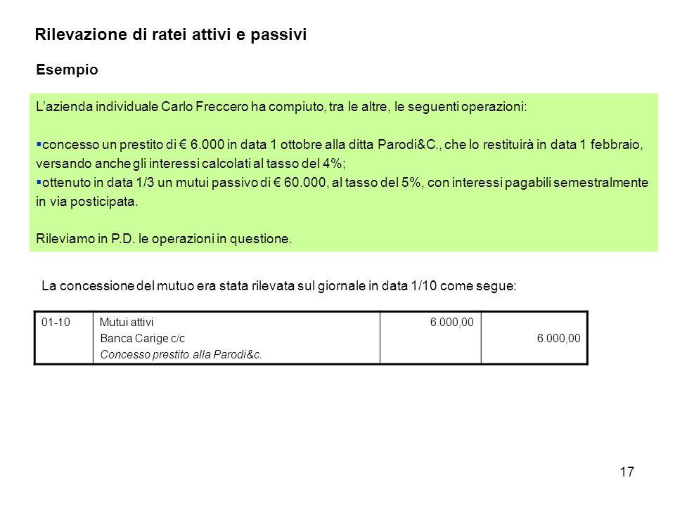 17 Rilevazione di ratei attivi e passivi Esempio L'azienda individuale Carlo Freccero ha compiuto, tra le altre, le seguenti operazioni:  concesso un