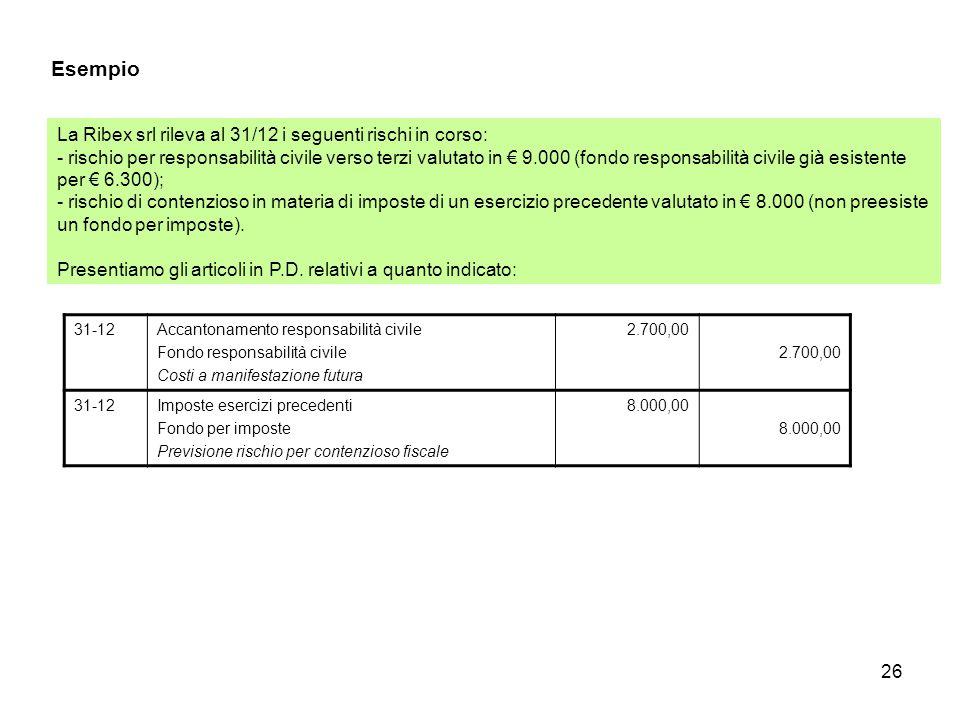 26 Esempio La Ribex srl rileva al 31/12 i seguenti rischi in corso: - rischio per responsabilità civile verso terzi valutato in € 9.000 (fondo respons