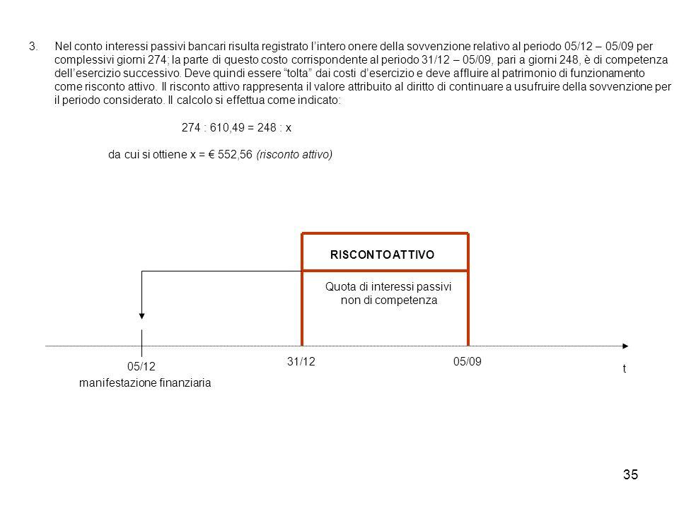 35 3. Nel conto interessi passivi bancari risulta registrato l'intero onere della sovvenzione relativo al periodo 05/12 – 05/09 per complessivi giorni