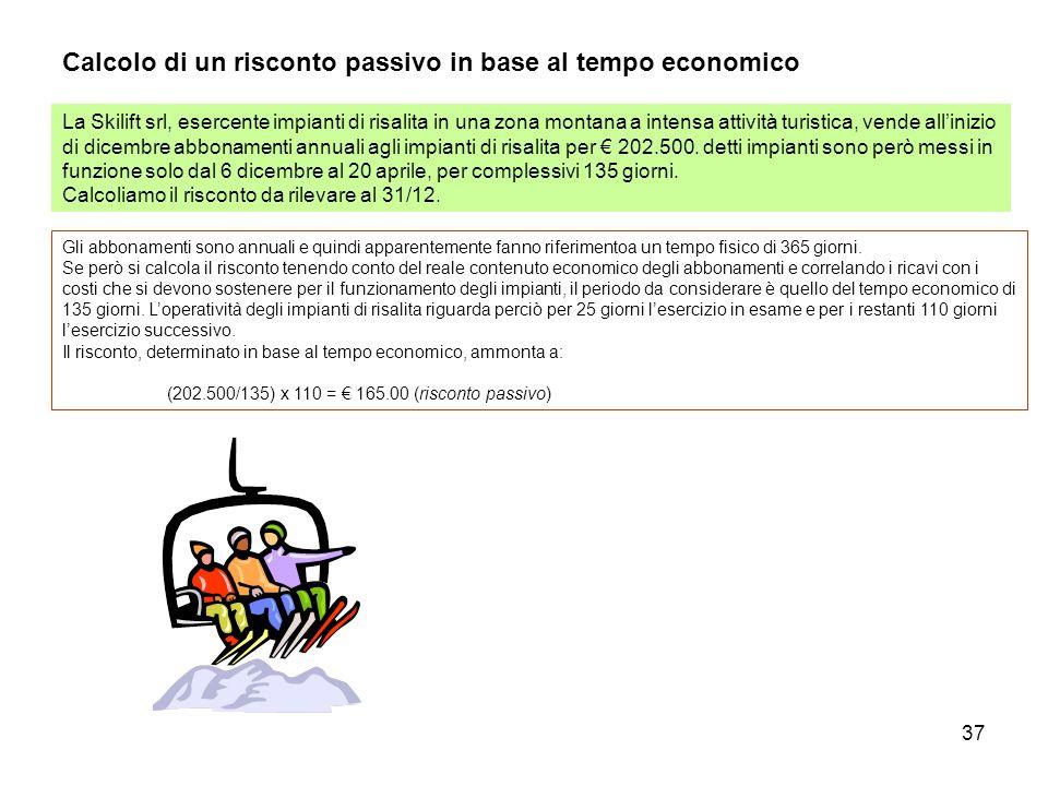 37 Calcolo di un risconto passivo in base al tempo economico La Skilift srl, esercente impianti di risalita in una zona montana a intensa attività tur