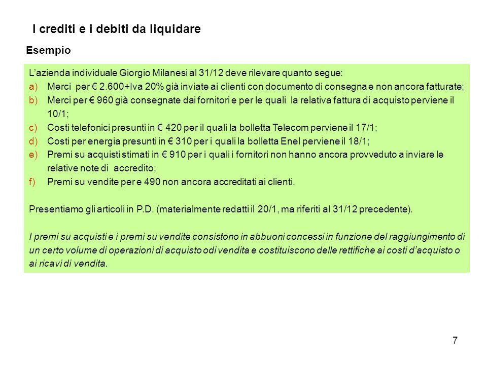 7 I crediti e i debiti da liquidare Esempio L'azienda individuale Giorgio Milanesi al 31/12 deve rilevare quanto segue: a)Merci per € 2.600+Iva 20% gi