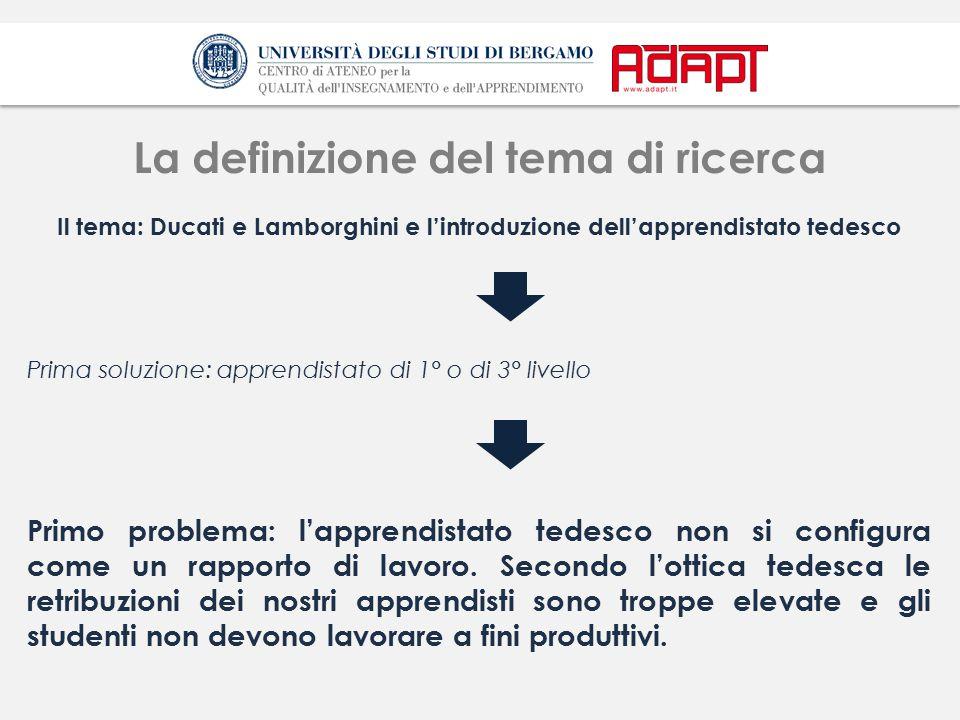 La definizione del tema di ricerca Il tema: Ducati e Lamborghini e l'introduzione dell'apprendistato tedesco Prima soluzione: apprendistato di 1° o di