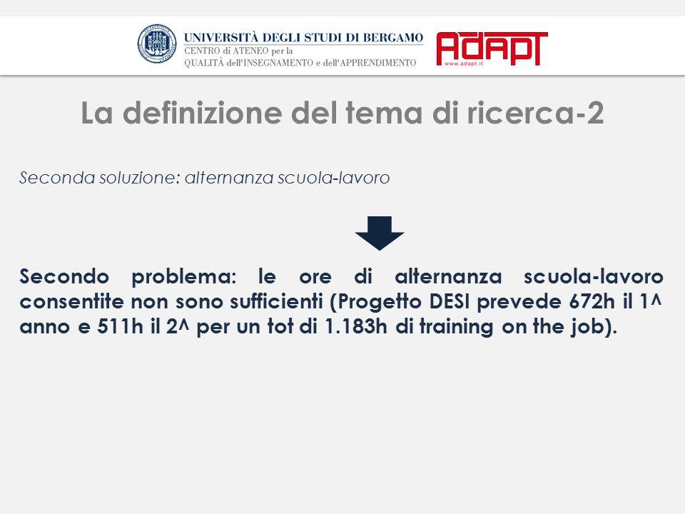 La definizione del tema di ricerca-2 Seconda soluzione: alternanza scuola-lavoro Secondo problema: le ore di alternanza scuola-lavoro consentite non sono sufficienti (Progetto DESI prevede 672h il 1^ anno e 511h il 2^ per un tot di 1.183h di training on the job).
