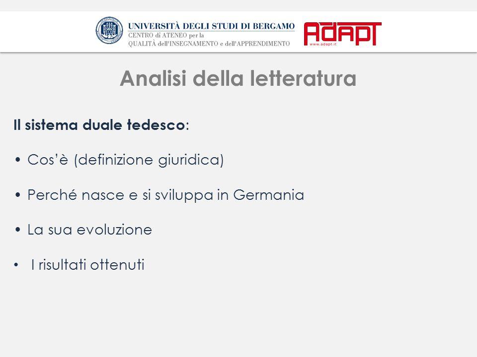 Analisi della letteratura-2 Quali strumenti normativi ha l'Italia per avvicinarsi al modello duale tedesco.