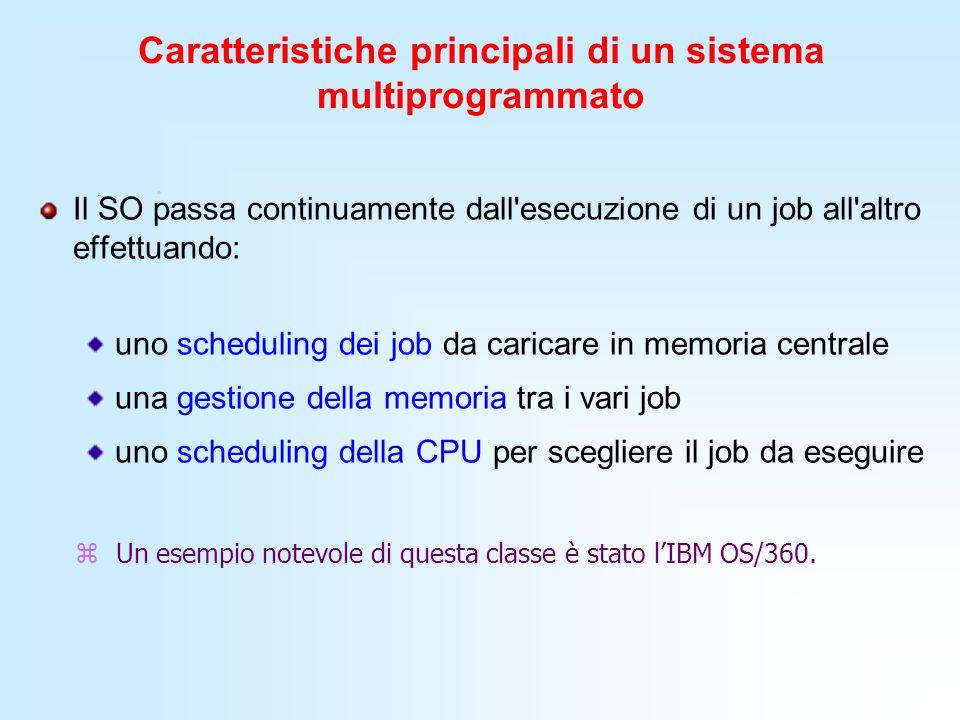 Caratteristiche principali di un sistema multiprogrammato Il SO passa continuamente dall'esecuzione di un job all'altro effettuando: uno scheduling de