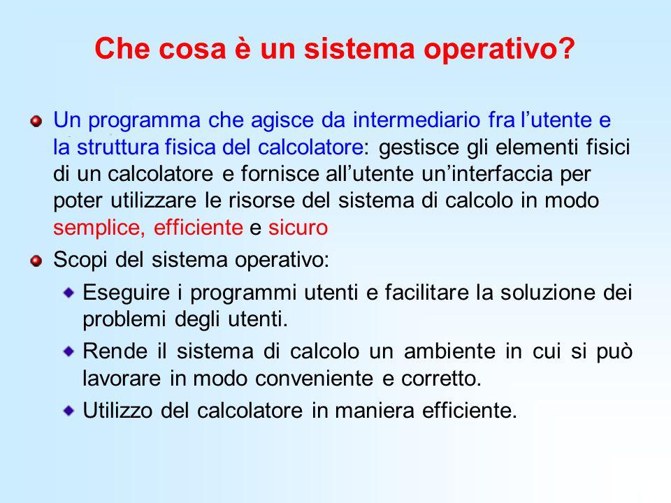 Che cosa è un sistema operativo? Un programma che agisce da intermediario fra l'utente e la struttura fisica del calcolatore: gestisce gli elementi fi