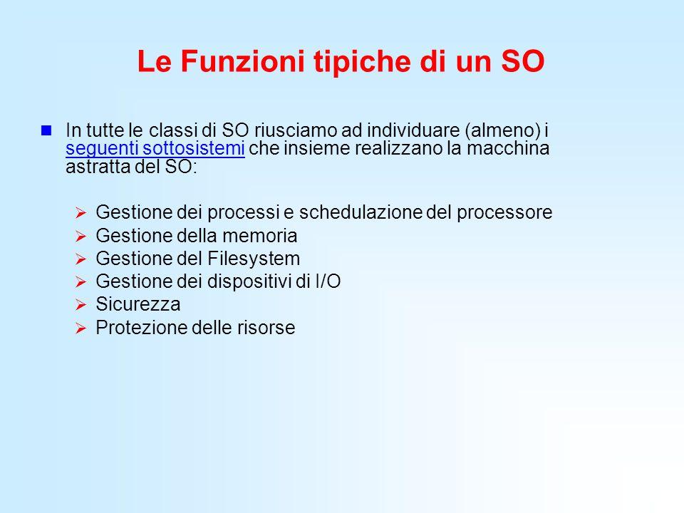 Le Funzioni tipiche di un SO In tutte le classi di SO riusciamo ad individuare (almeno) i seguenti sottosistemi che insieme realizzano la macchina ast