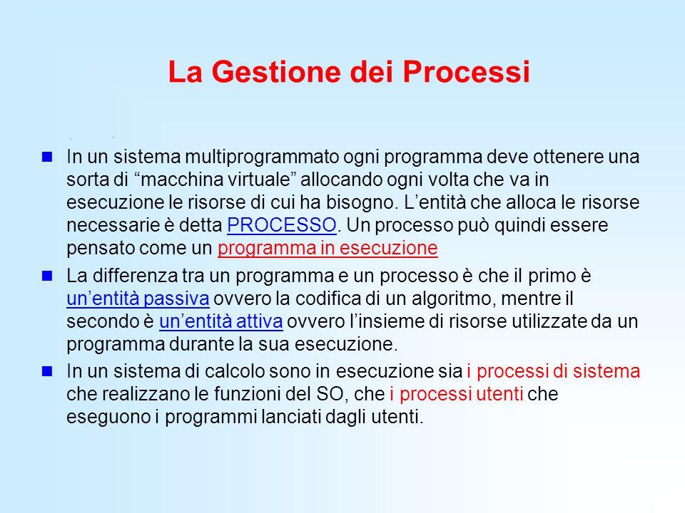 """La Gestione dei Processi In un sistema multiprogrammato ogni programma deve ottenere una sorta di """"macchina virtuale"""" allocando ogni volta che va in e"""
