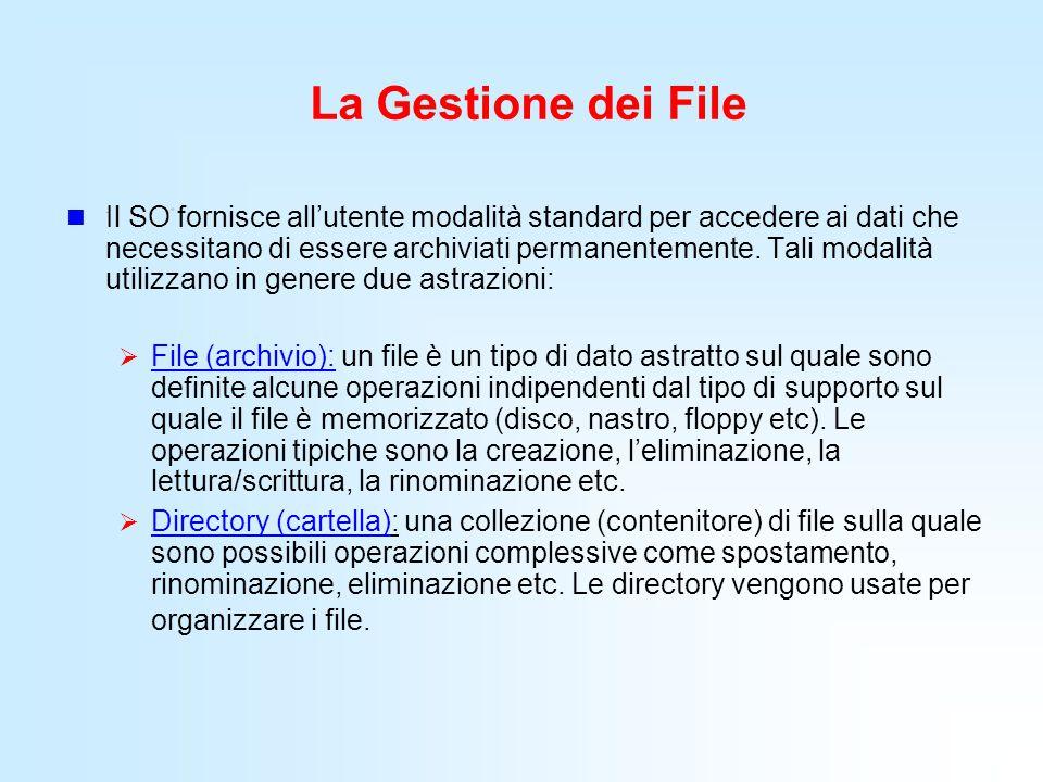 La Gestione dei File Il SO fornisce all'utente modalità standard per accedere ai dati che necessitano di essere archiviati permanentemente. Tali modal