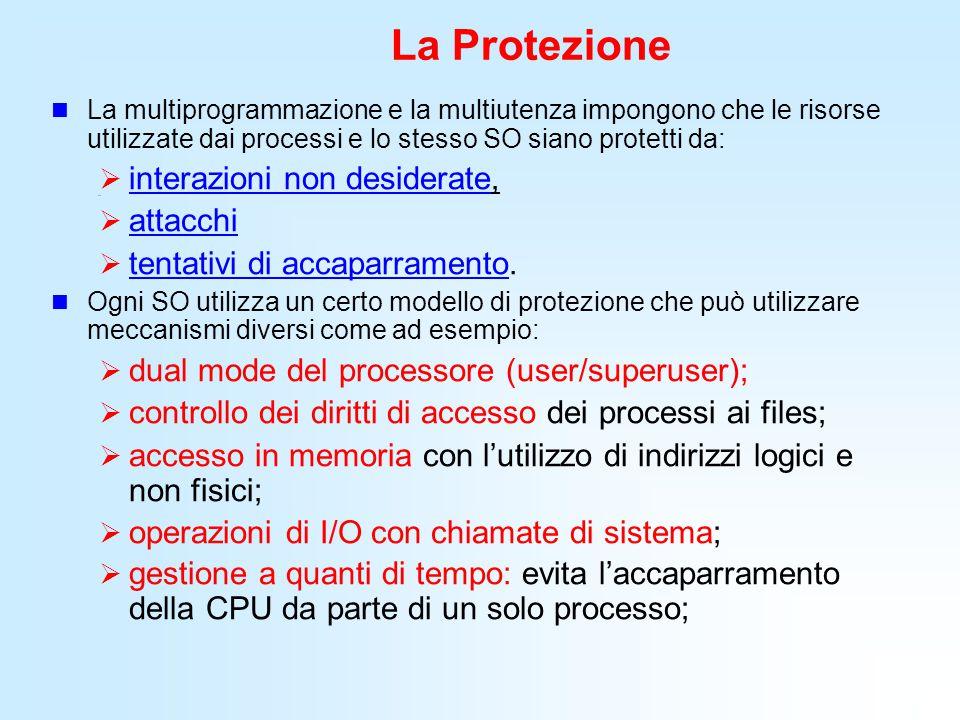 La Protezione La multiprogrammazione e la multiutenza impongono che le risorse utilizzate dai processi e lo stesso SO siano protetti da:  interazioni