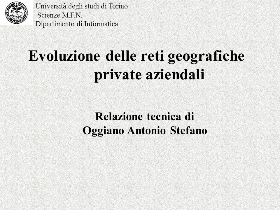 Evoluzione delle reti geografiche private aziendali Relazione tecnica di Oggiano Antonio Stefano Università degli studi di Torino Scienze M.F.N.