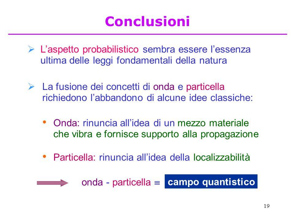 19  L'aspetto probabilistico sembra essere l'essenza ultima delle leggi fondamentali della natura  La fusione dei concetti di onda e particella rich