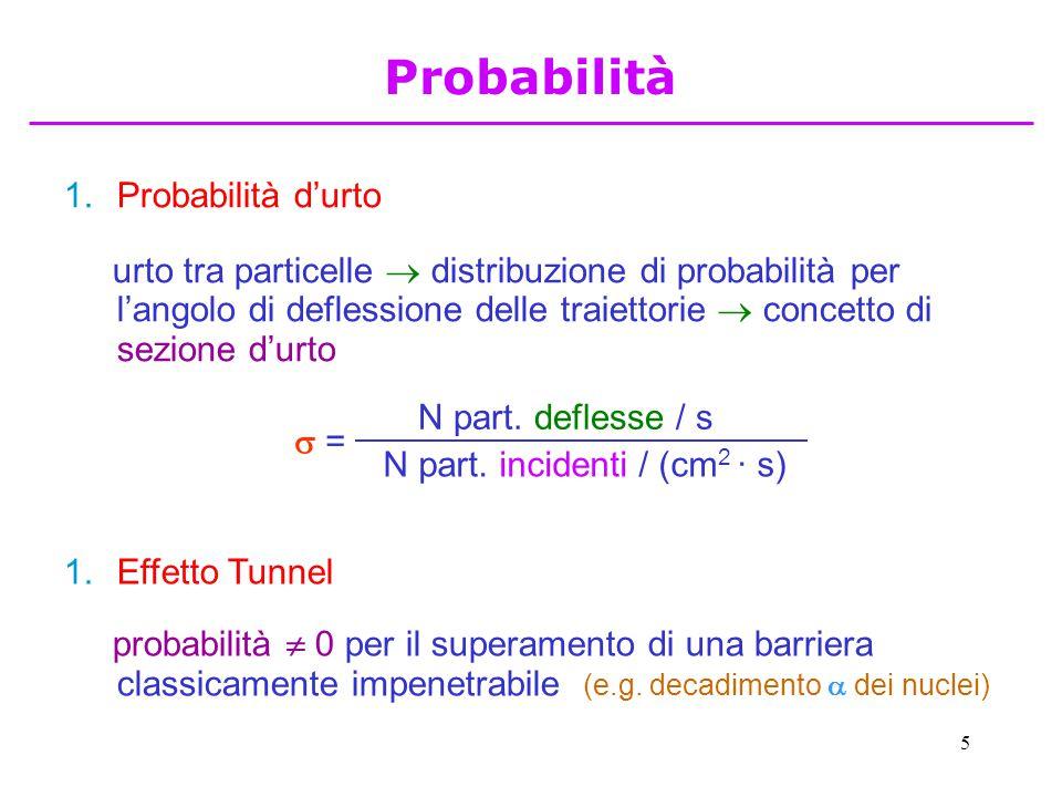 5 1.Probabilità d'urto urto tra particelle  distribuzione di probabilità per l'angolo di deflessione delle traiettorie  concetto di sezione d'urto 1.Effetto Tunnel probabilità  0 per il superamento di una barriera classicamente impenetrabile (e.g.