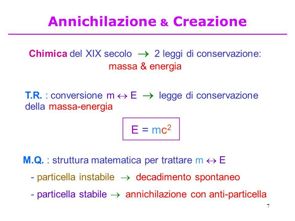 7 Chimica del XIX secolo   2 leggi di conservazione: massa & energia T.R. : conversione m  E  legge di conservazione della massa-energia M.Q. : st