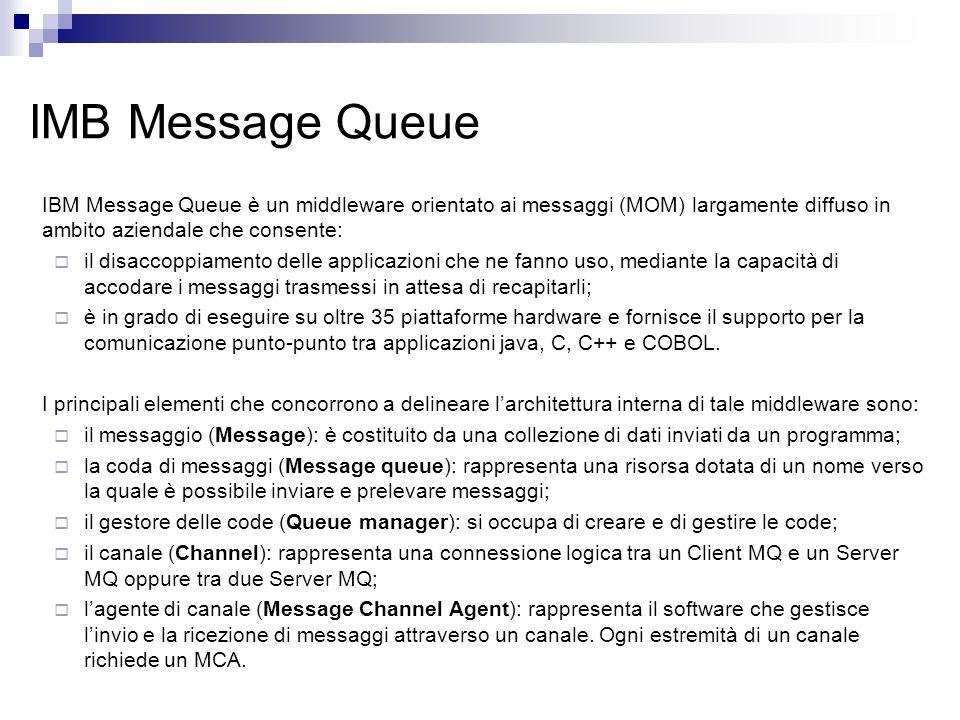 IMB Message Queue IBM Message Queue è un middleware orientato ai messaggi (MOM) largamente diffuso in ambito aziendale che consente:  il disaccoppiamento delle applicazioni che ne fanno uso, mediante la capacità di accodare i messaggi trasmessi in attesa di recapitarli;  è in grado di eseguire su oltre 35 piattaforme hardware e fornisce il supporto per la comunicazione punto-punto tra applicazioni java, C, C++ e COBOL.