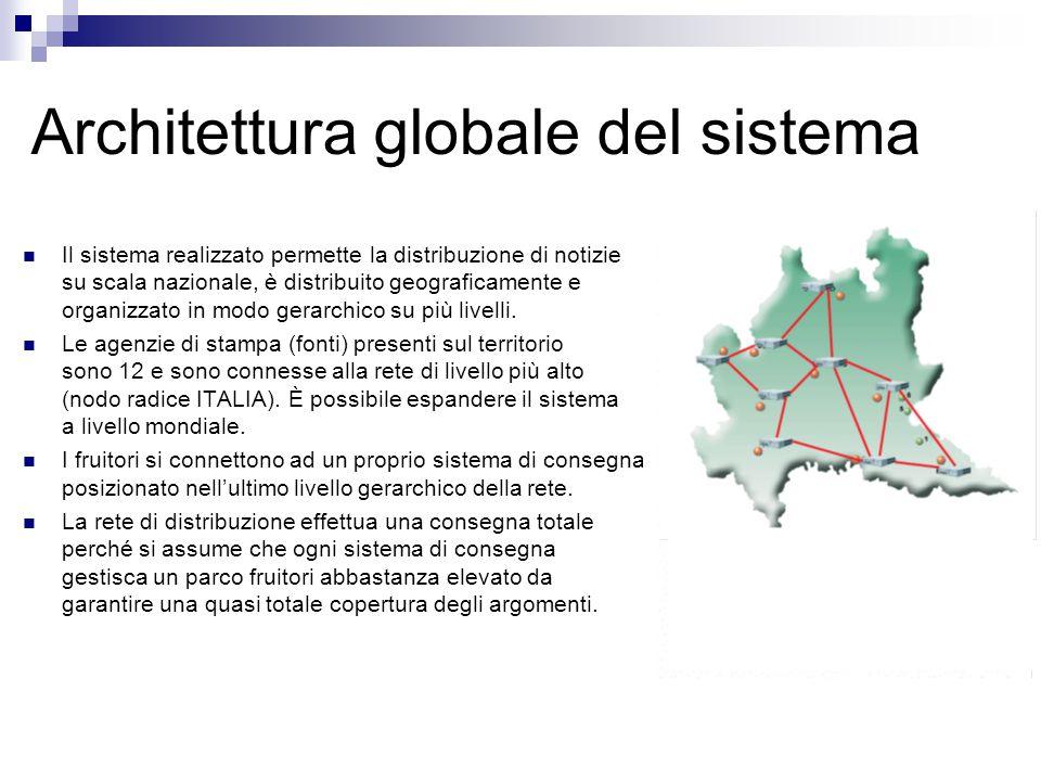 Architettura globale del sistema Il sistema realizzato permette la distribuzione di notizie su scala nazionale, è distribuito geograficamente e organizzato in modo gerarchico su più livelli.