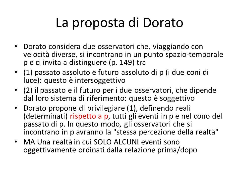 La proposta di Dorato Dorato considera due osservatori che, viaggiando con velocità diverse, si incontrano in un punto spazio-temporale p e ci invita a distinguere (p.