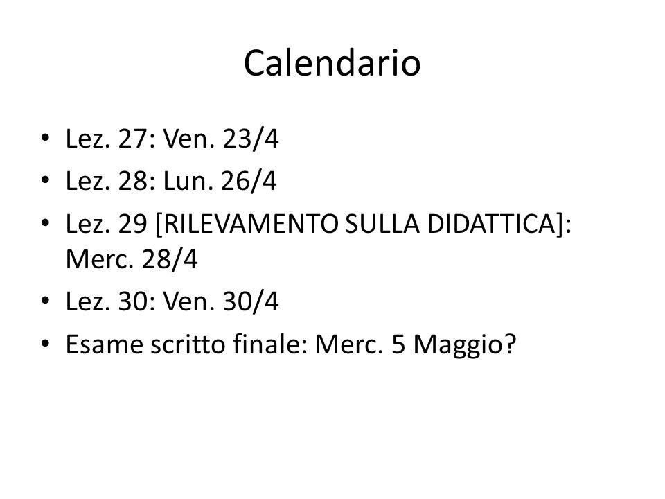Calendario Lez. 27: Ven. 23/4 Lez. 28: Lun. 26/4 Lez.