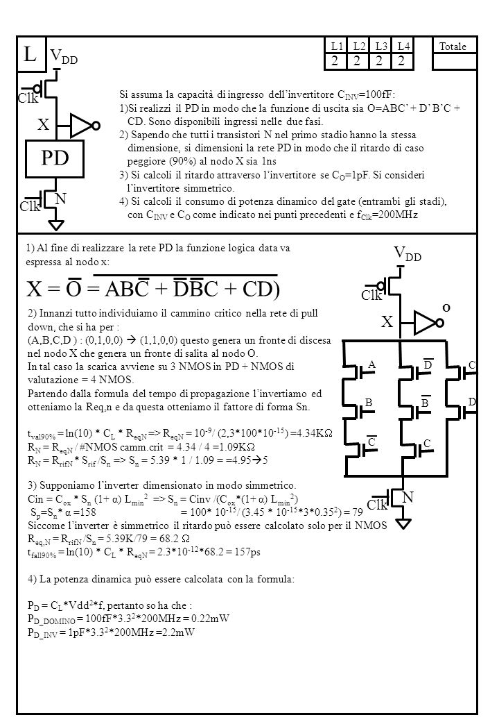 L Si assuma la capacità di ingresso dell'invertitore C INV =100fF: 1)Si realizzi il PD in modo che la funzione di uscita sia O=ABC' + D' B'C + CD.