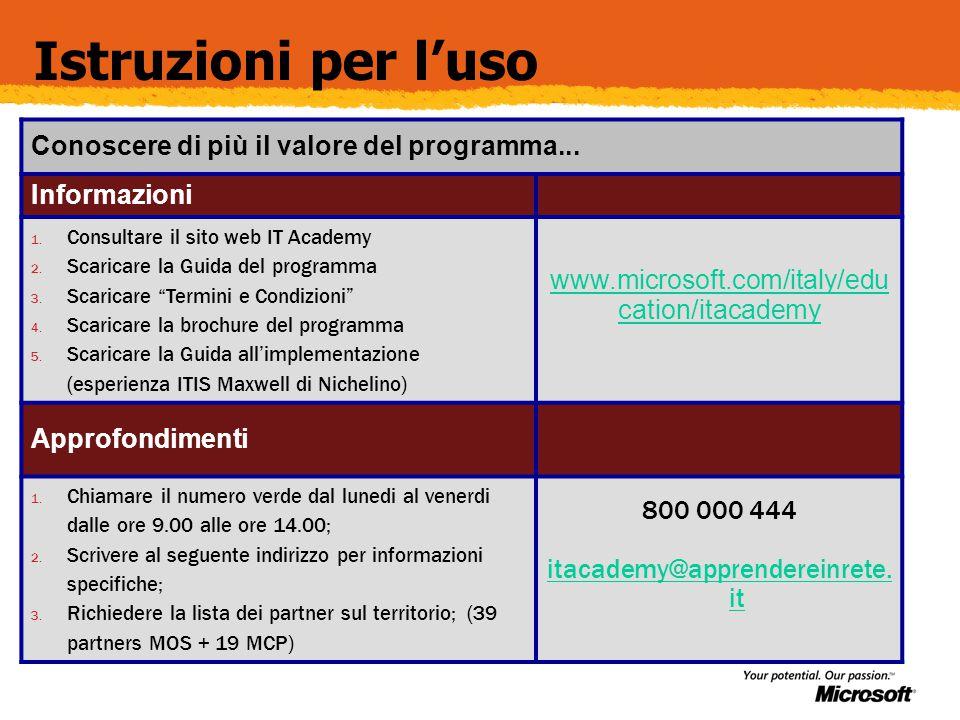 Istruzioni per l'uso Conoscere di più il valore del programma...