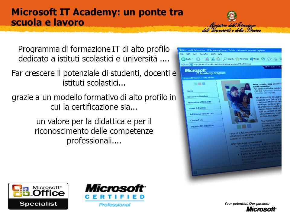 Microsoft IT Academy: un ponte tra scuola e lavoro Programma di formazione IT di alto profilo dedicato a istituti scolastici e università....