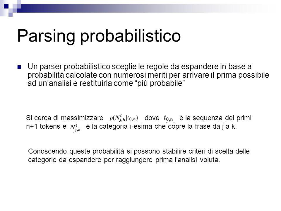 Parsing probabilistico Un parser probabilistico sceglie le regole da espandere in base a probabilità calcolate con numerosi meriti per arrivare il prima possibile ad un'analisi e restituirla come più probabile Si cerca di massimizzare dove è la sequenza dei primi n+1 tokens e è la categoria i-esima che copre la frase da j a k.