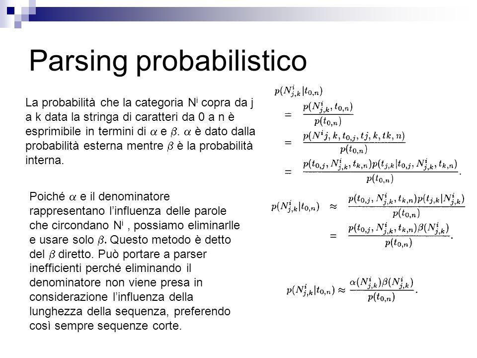 Parsing probabilistico La probabilità che la categoria N i copra da j a k data la stringa di caratteri da 0 a n è esprimibile in termini di  e .