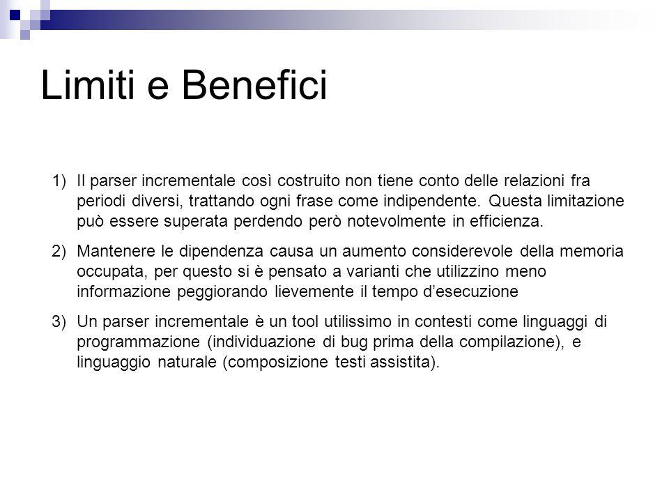 Limiti e Benefici 1)Il parser incrementale così costruito non tiene conto delle relazioni fra periodi diversi, trattando ogni frase come indipendente.