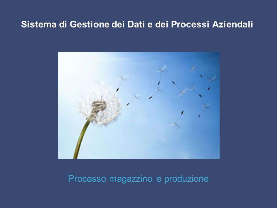 Sistema di Gestione dei Dati e dei Processi Aziendali Processo magazzino e produzione