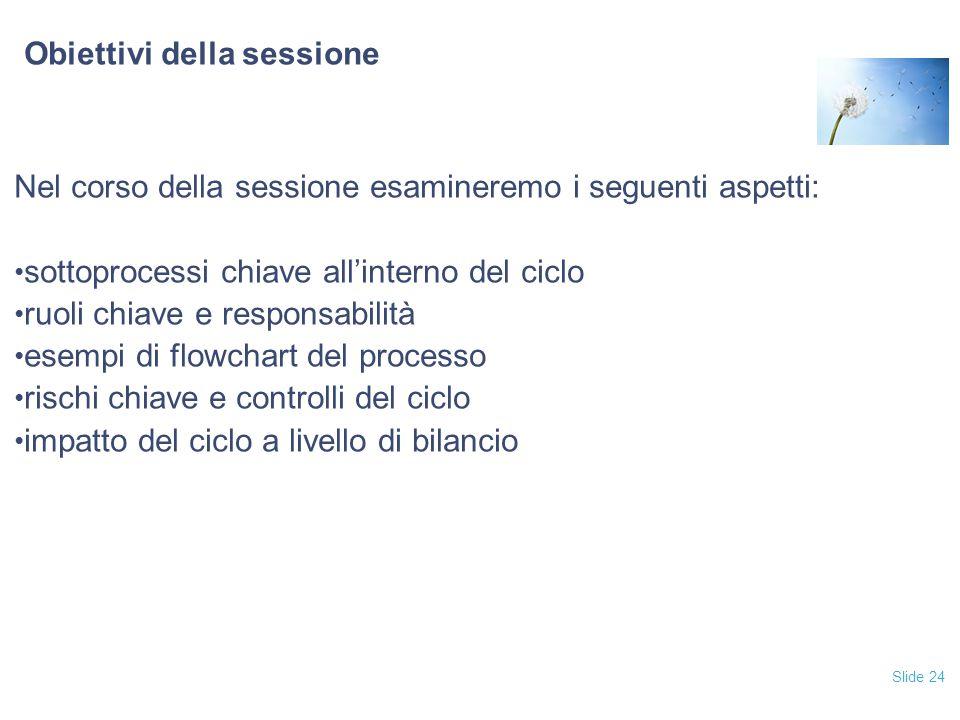 Slide 24 Obiettivi della sessione Nel corso della sessione esamineremo i seguenti aspetti: sottoprocessi chiave all'interno del ciclo ruoli chiave e responsabilità esempi di flowchart del processo rischi chiave e controlli del ciclo impatto del ciclo a livello di bilancio