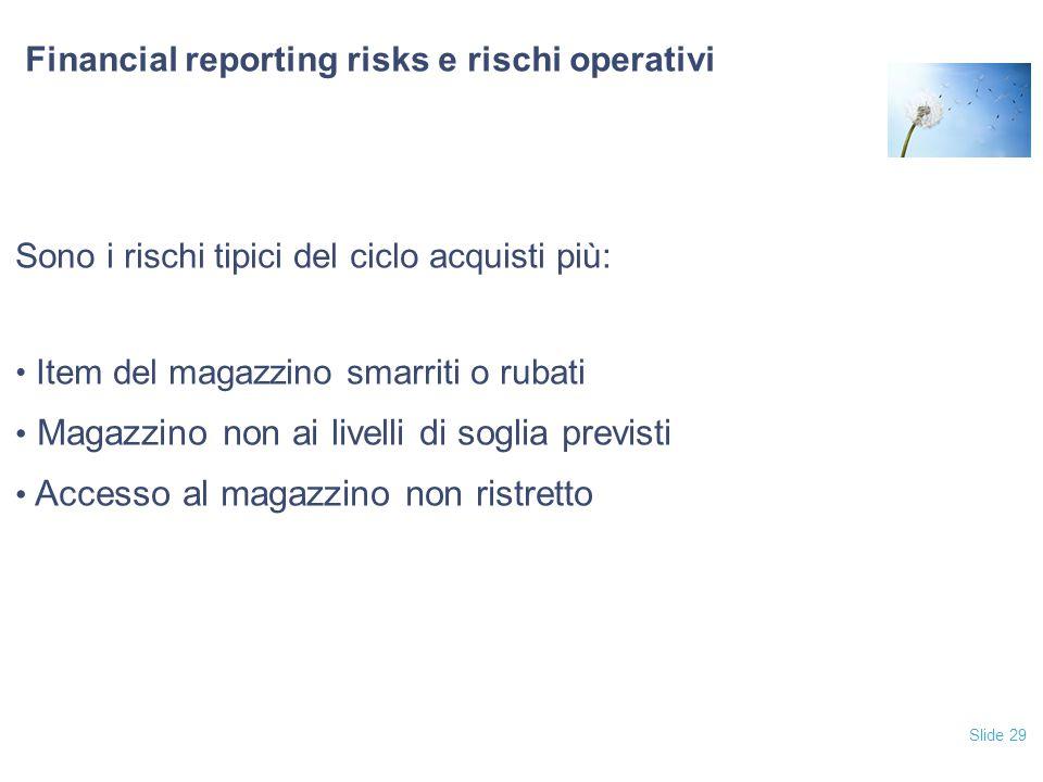 Slide 29 Financial reporting risks e rischi operativi Sono i rischi tipici del ciclo acquisti più: Item del magazzino smarriti o rubati Magazzino non ai livelli di soglia previsti Accesso al magazzino non ristretto