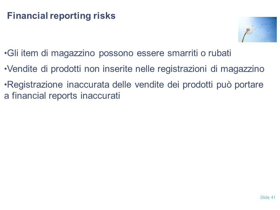 Slide 41 Financial reporting risks Gli item di magazzino possono essere smarriti o rubati Vendite di prodotti non inserite nelle registrazioni di magazzino Registrazione inaccurata delle vendite dei prodotti può portare a financial reports inaccurati