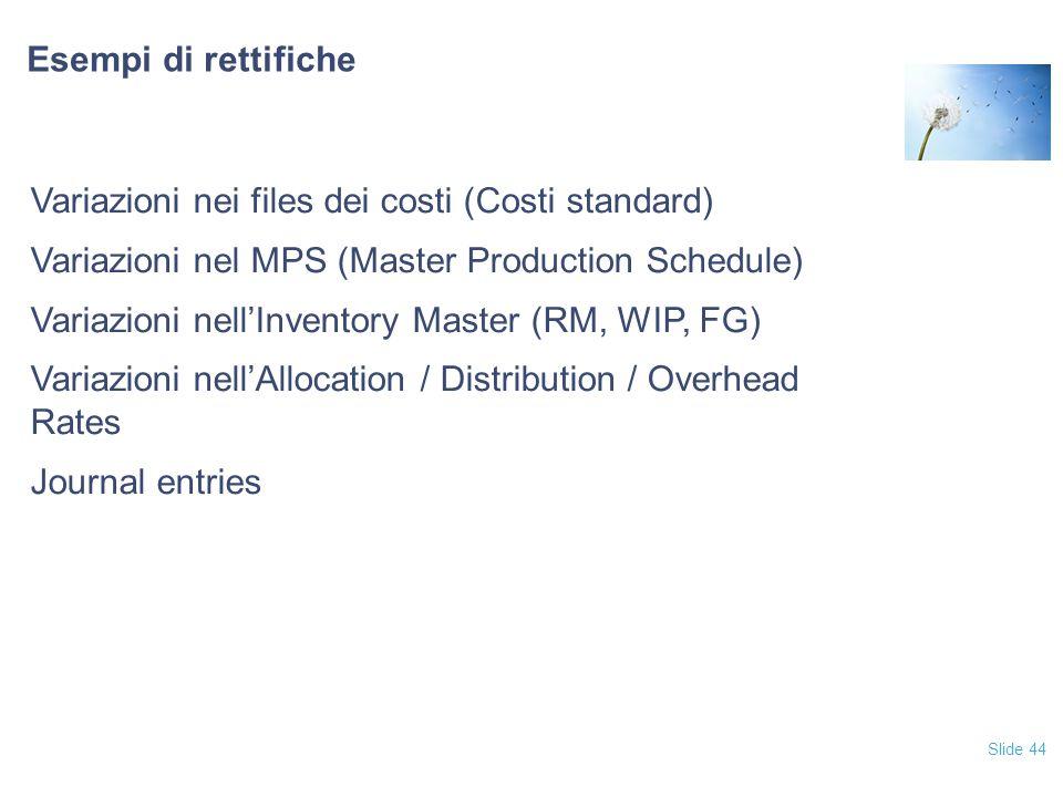 Slide 44 Esempi di rettifiche Variazioni nei files dei costi (Costi standard) Variazioni nel MPS (Master Production Schedule) Variazioni nell'Inventory Master (RM, WIP, FG) Variazioni nell'Allocation / Distribution / Overhead Rates Journal entries