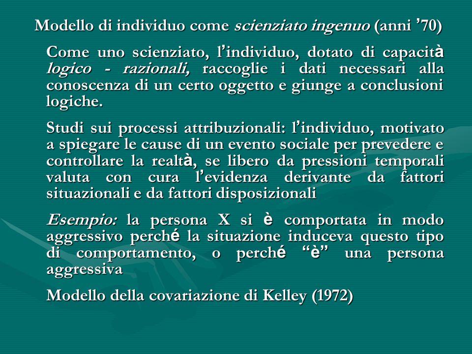 Modello di individuo come scienziato ingenuo (anni ' 70) Modello di individuo come scienziato ingenuo (anni ' 70) Come uno scienziato, l ' individuo,