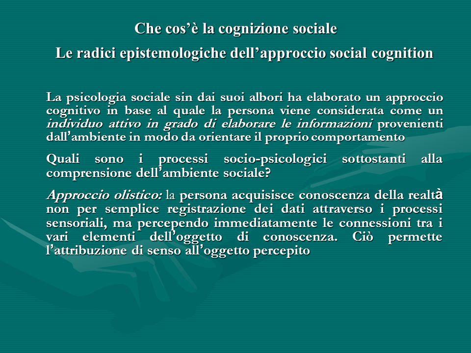 Che cos'è la cognizione sociale Le radici epistemologiche dell'approccio social cognition La psicologia sociale sin dai suoi albori ha elaborato un ap