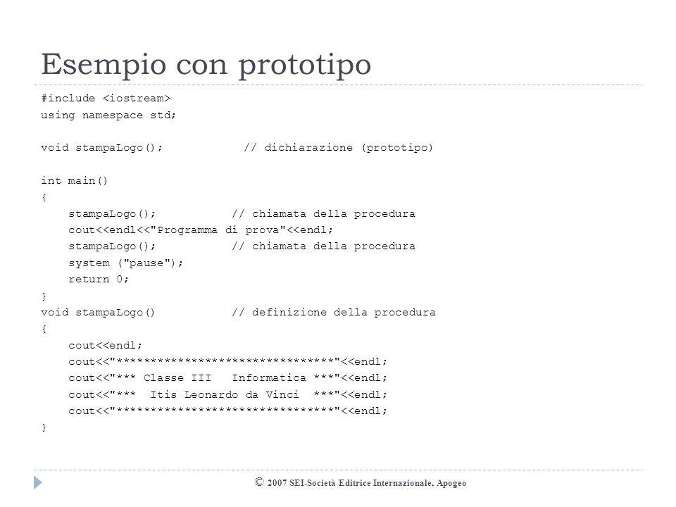 Esempio con prototipo © 2007 SEI-Società Editrice Internazionale, Apogeo #include using namespace std; void stampaLogo();// dichiarazione (prototipo)