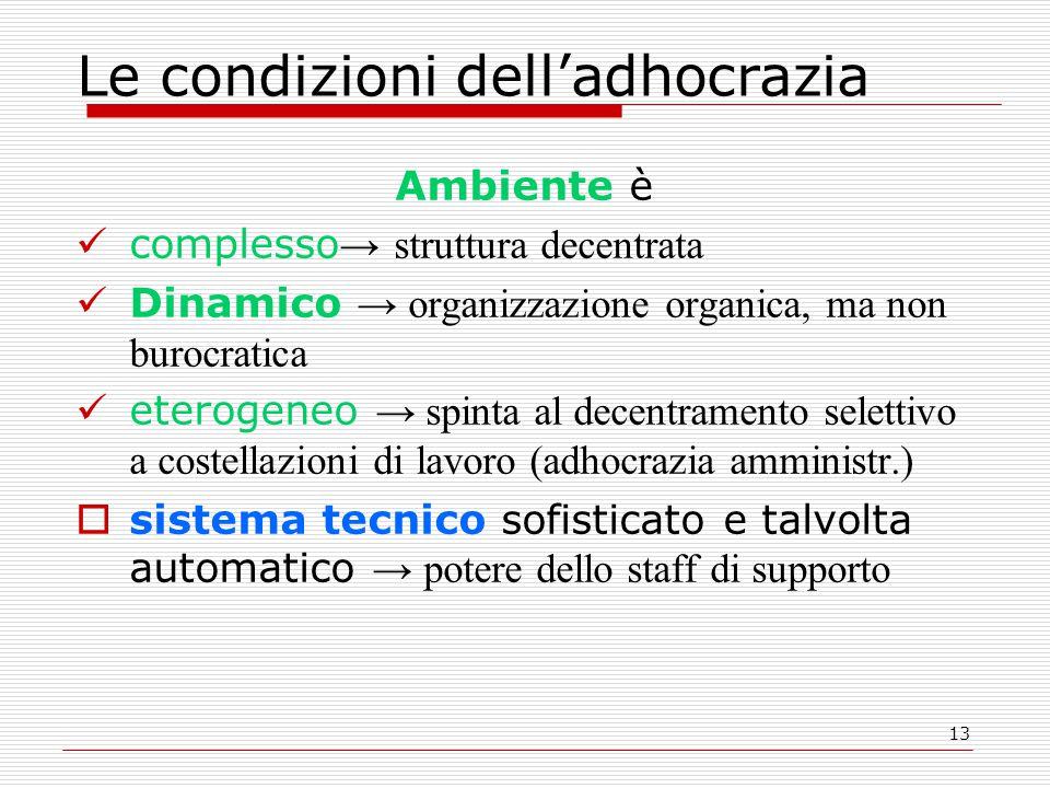 13 Le condizioni dell'adhocrazia Ambiente è complesso → struttura decentrata Dinamico → organizzazione organica, ma non burocratica eterogeneo → spint