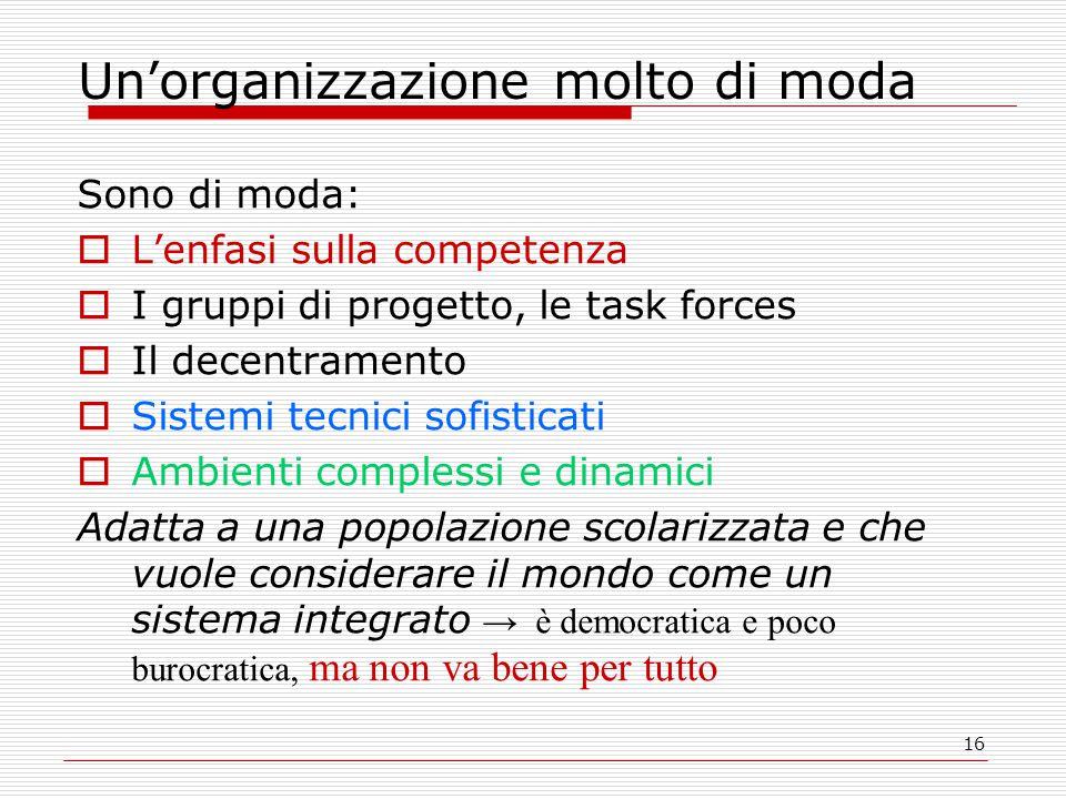 16 Un'organizzazione molto di moda Sono di moda:  L'enfasi sulla competenza  I gruppi di progetto, le task forces  Il decentramento  Sistemi tecni