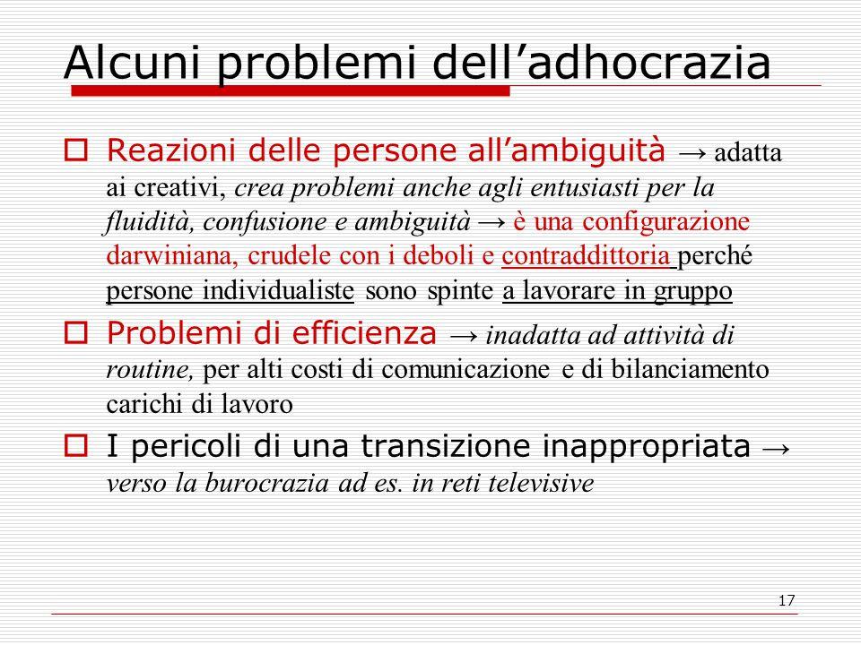 17 Alcuni problemi dell'adhocrazia  Reazioni delle persone all'ambiguità → adatta ai creativi, crea problemi anche agli entusiasti per la fluidità, c