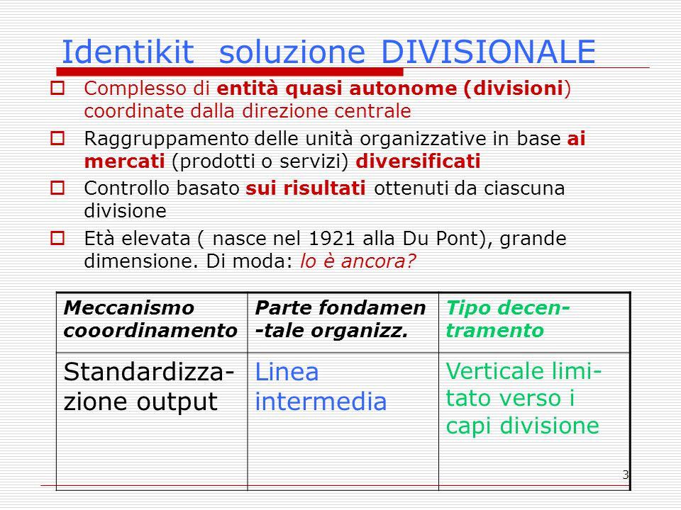 3 Identikit soluzione DIVISIONALE  Complesso di entità quasi autonome (divisioni) coordinate dalla direzione centrale  Raggruppamento delle unità organizzative in base ai mercati (prodotti o servizi) diversificati  Controllo basato sui risultati ottenuti da ciascuna divisione  Età elevata ( nasce nel 1921 alla Du Pont), grande dimensione.