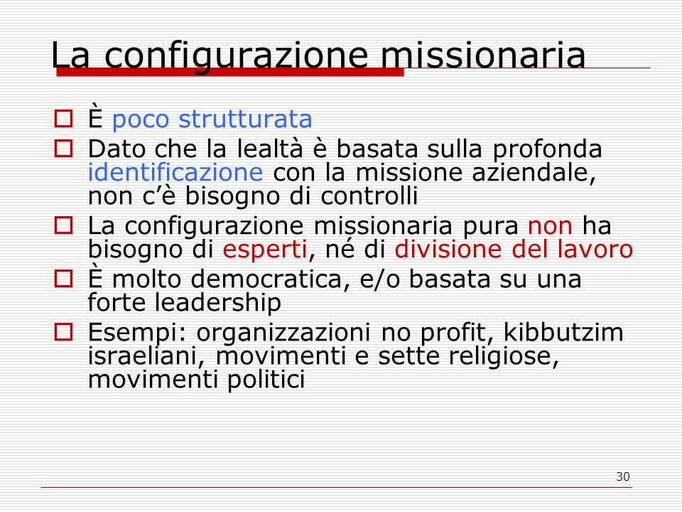 30 La configurazione missionaria  È poco strutturata  Dato che la lealtà è basata sulla profonda identificazione con la missione aziendale, non c'è