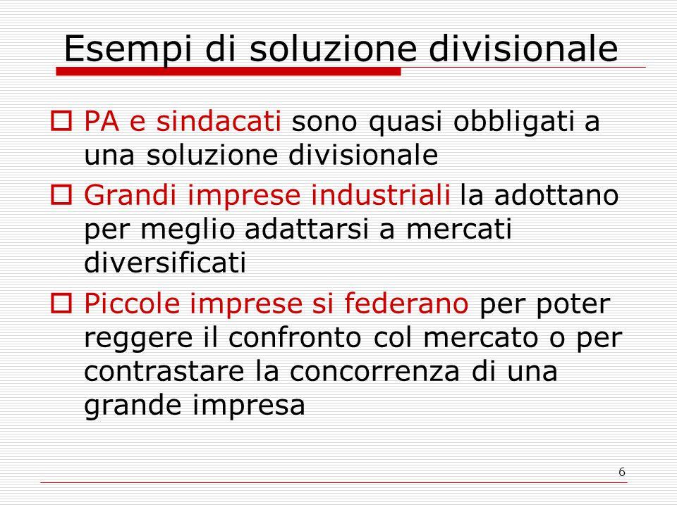 6 Esempi di soluzione divisionale  PA e sindacati sono quasi obbligati a una soluzione divisionale  Grandi imprese industriali la adottano per megli