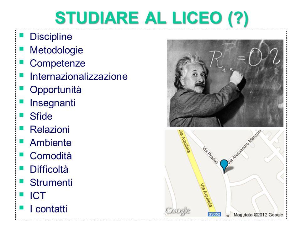 STUDIARE AL LICEO ( )  Discipline  Metodologie  Competenze  Internazionalizzazione  Opportunità  Insegnanti  Sfide  Relazioni  Ambiente  Comodità  Difficoltà  Strumenti  ICT  I contatti