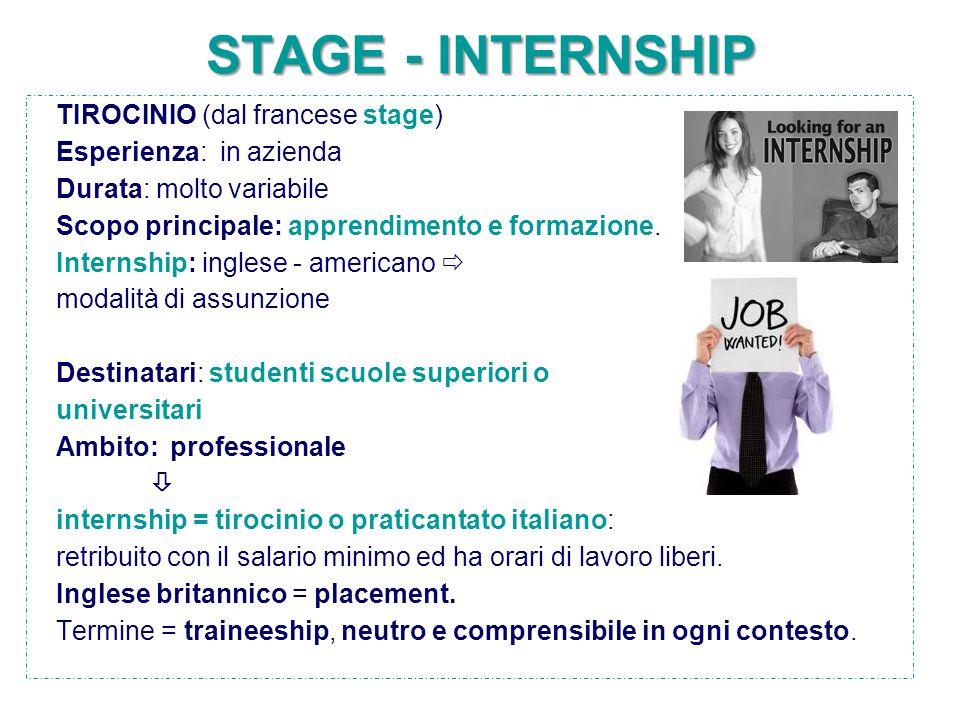 STAGE - INTERNSHIP TIROCINIO (dal francese stage) Esperienza: in azienda Durata: molto variabile Scopo principale: apprendimento e formazione. Interns