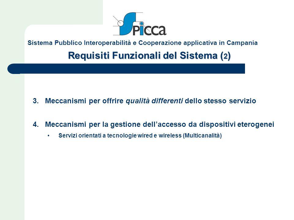 Requisiti Funzionali del Sistema ( 2 ) 3. Meccanismi per offrire qualità differenti dello stesso servizio 4. Meccanismi per la gestione dell'accesso d