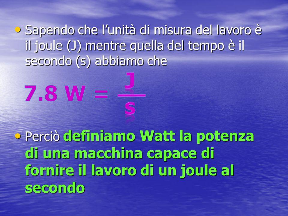 Sapendo che l'unità di misura del lavoro è il joule (J) mentre quella del tempo è il secondo (s) abbiamo che Perciò definiamo Watt la potenza di una m