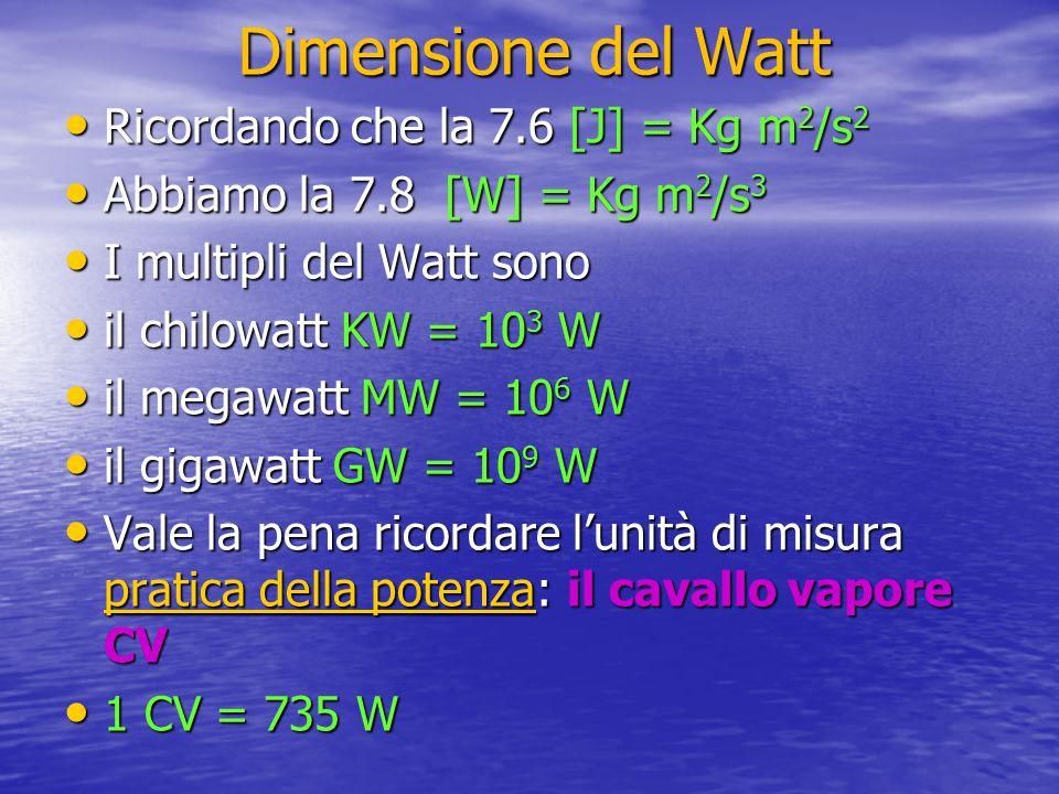 Dimensione del Watt Ricordando che la 7.6 [J] = Kg m 2 /s 2 Ricordando che la 7.6 [J] = Kg m 2 /s 2 Abbiamo la 7.8 [W] = Kg m 2 /s 3 Abbiamo la 7.8 [W