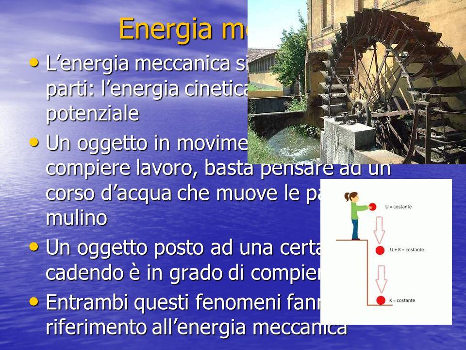 Energia meccanica L'energia meccanica si differenzia in due parti: l'energia cinetica e l'energia potenziale L'energia meccanica si differenzia in due