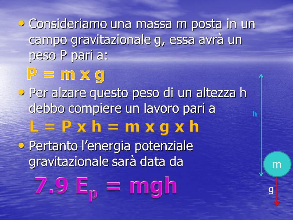 Consideriamo una massa m posta in un campo gravitazionale g, essa avrà un peso P pari a: Consideriamo una massa m posta in un campo gravitazionale g,