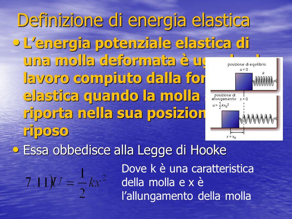 Definizione di energia elastica L'energia potenziale elastica di una molla deformata è uguale al lavoro compiuto dalla forza elastica quando la molla